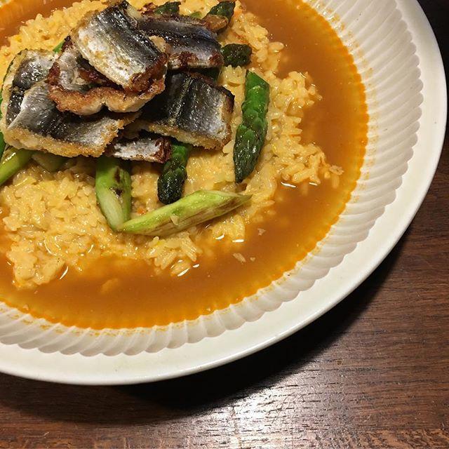 鱧と魚介のスープのリゾットなんと楽しい、美味しい時間!